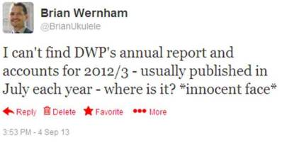 Tweet about DWPs Annual Report and Accounts